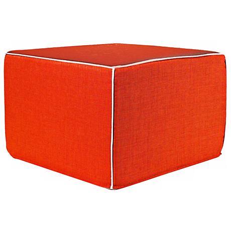 Puzzle Outdoor Square Ottoman in Orange