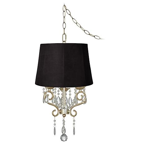 """Conti 16"""" Wide Mini Swag Chandelier with Faux Suede Shade"""