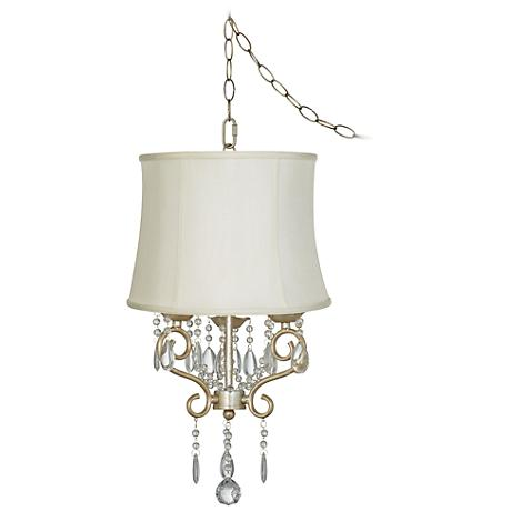 """Conti 16"""" Wide Mini Swag Chandelier with Creme Drum Shade"""