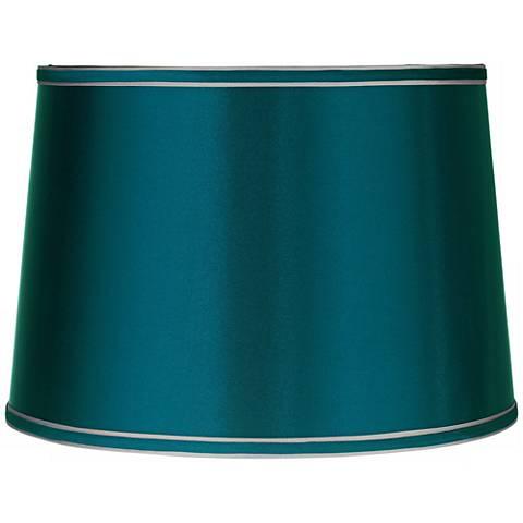 Sydnee Satin Teal Blue Drum Lamp Shade 14x16x11 (Spider) - #Y5663 ...:Sydnee Satin Teal Blue Drum Lamp Shade 14x16x11 (Spider),Lighting