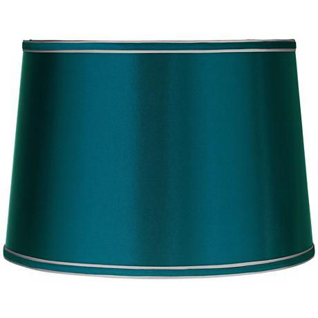 Sydnee Satin Teal Blue Drum Lamp Shade 14x16x11 (Spider)