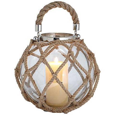 Globe Lantern With Rope And Stainless Steel Accents