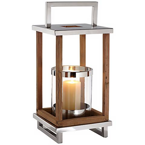 Medium Stainless Steel And Wood Pillar Candle Holder Lantern