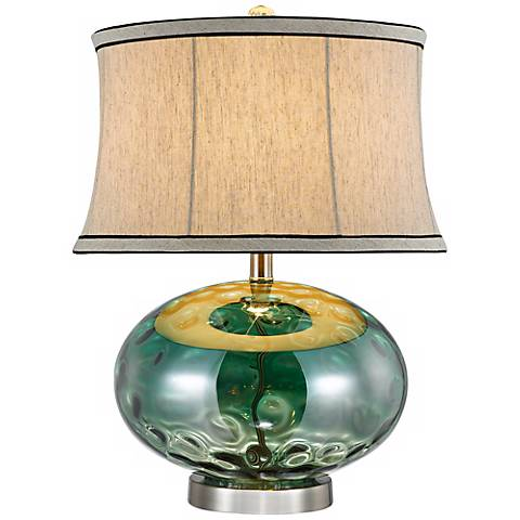 Fiona Stone Pattern Green Glass Table Lamp