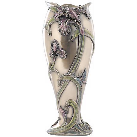 "Iris Cast Bronze 13 1/4"" High Vase"