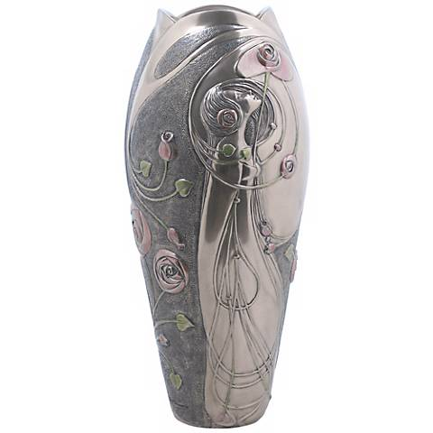 """Deco Rose and Lady Bronze 13 1/2"""" High Vase"""