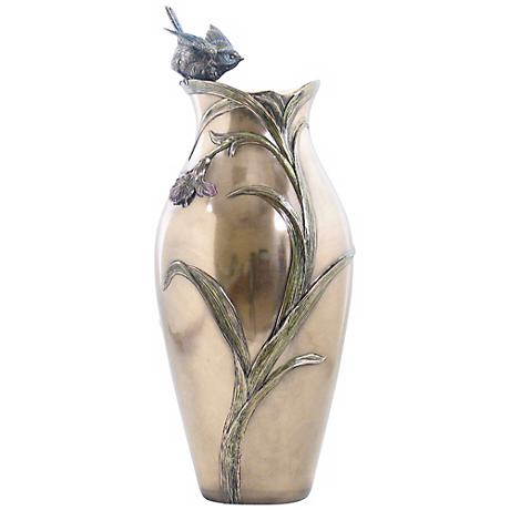 "Orchid and Blue Tit Cast Bronze 14 3/4"" High Vase"