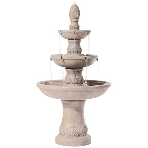 "Domanico Three Tier Tan Indoor-Outdoor 57""H Floor Fountain"