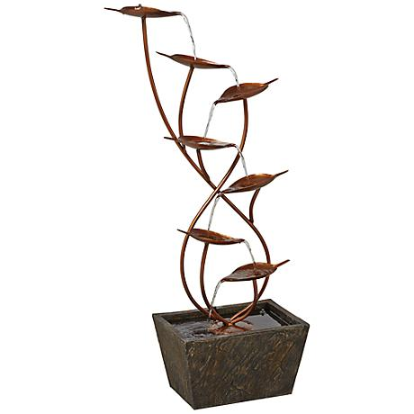 Ashton Curved Leaves Indoor - Outdoor Copper Floor Fountain