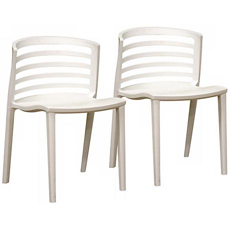 Set of 2 Sanborn White Wire Dining Chairs