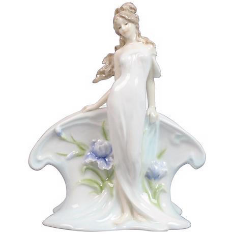 Woman and Blue Iris White Porcelain Napkin Holder