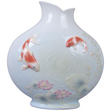 "Koi in Lotus Pond Blue Porcelain 8 1/2"" High Vase"