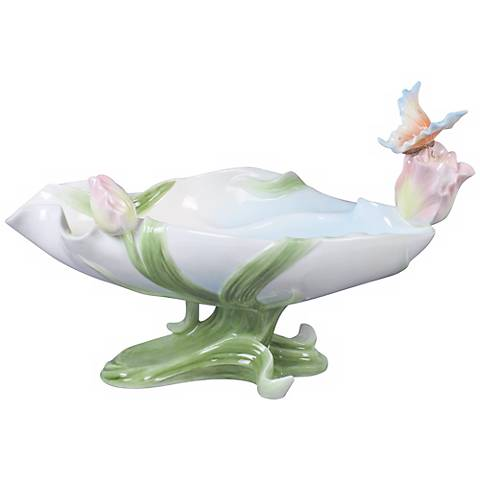 Art Nouveau Butterfly and Tulip Ivory Porcelain Bowl