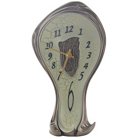 "Art Nouveau 11 1/4"" High Open-Center Melting Bronze Clock"