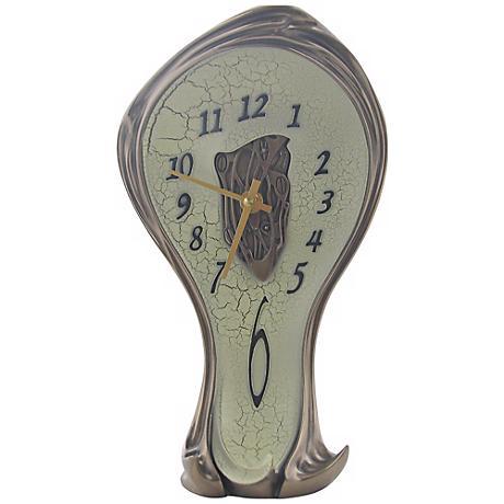 """Art Nouveau 11 1/4"""" High Open-Center Melting Bronze Clock"""