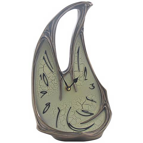 "Melting Open Top 11 1/4"" High Bronze Table Clock"