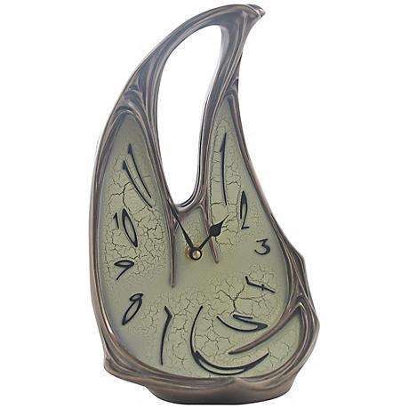"Melting Open Top 11 1/4"" High Bronze Table Clock"
