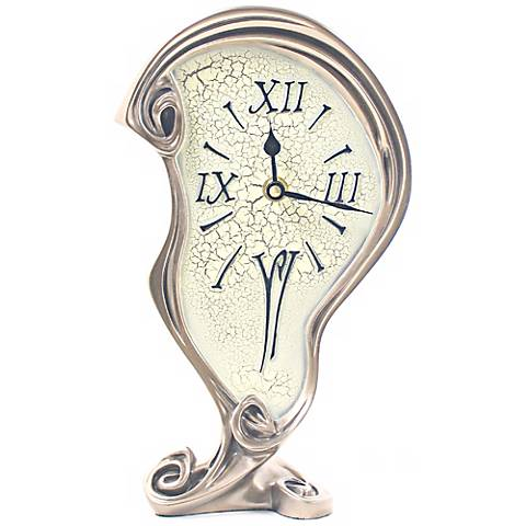 "Melting 14"" High Art Nouveau Bronze Finish Tabletop Clock"