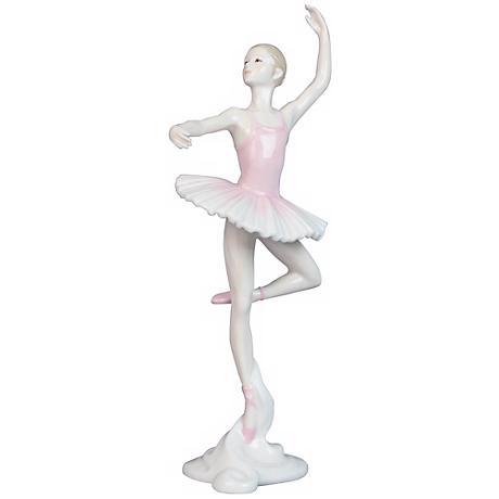 "Porcelain Pink 10 1/2"" High Ballerina Figurine"