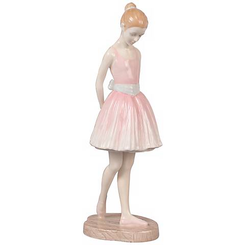 "Nervous Pink Porcelain 9"" High Ballerina Figurine"