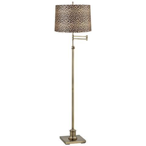 Westbury Leopard Print Shade Brass Swing Arm Floor Lamp