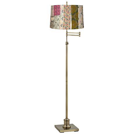 Westbury Patchwork Shade Brass Swing Arm Floor Lamp