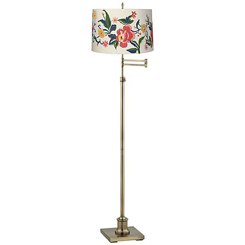 Westbury Embroidered Floral Brass Swing Arm Floor Lamp