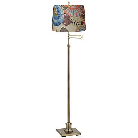 Westbury Tropic Drum Shade Brass Swing Arm Floor Lamp