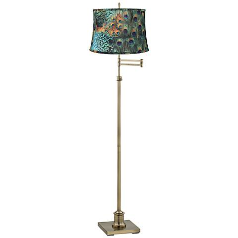 Westbury Peacock Print Shade Brass Swing Arm Floor Lamp