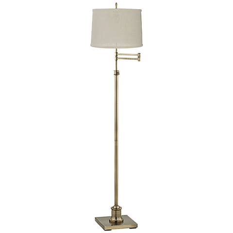 Westbury Cream Burlap Shade Brass Swing Arm Floor Lamp
