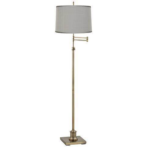 Westbury Platinum Gray Shade Brass Swing Arm Floor Lamp