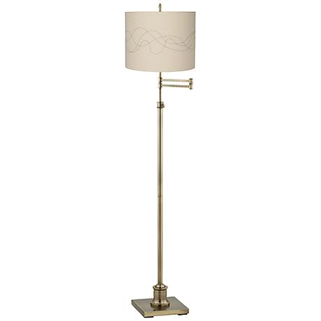 Westbury Abstract Stitched Brass Swing Arm Floor Lamp