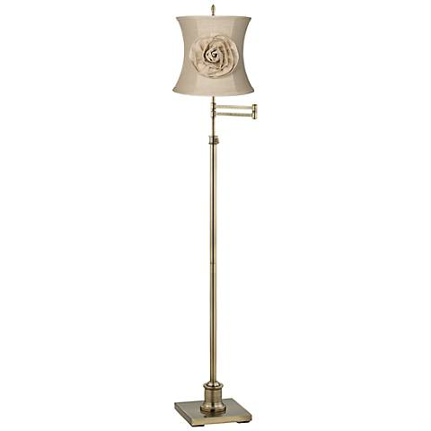Westbury Almond Flower Shade Brass Swing Arm Floor Lamp