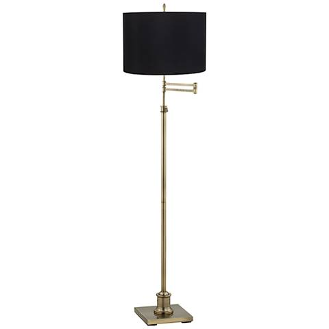 westbury black shade brass swing arm floor lamp y7211 t2014 lamps plus. Black Bedroom Furniture Sets. Home Design Ideas