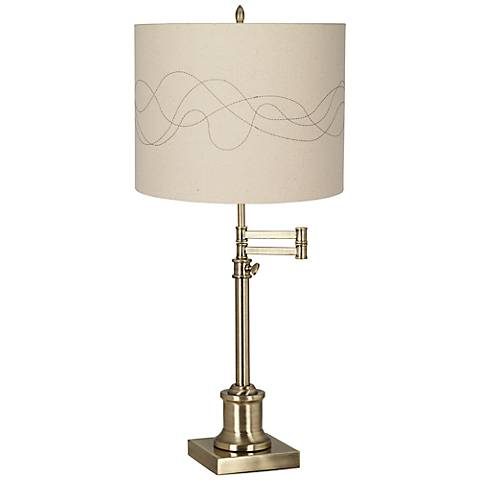 Westbury Abstract Stitched Shade Brass Swing Arm Desk Lamp
