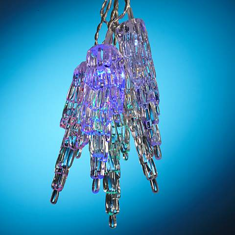 Solar Powered 10 Light Clear Icicle Led String Lights