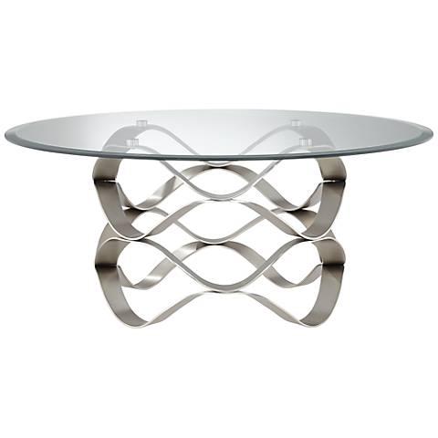 Brushed Silver Waves Round Glass Coffee Table