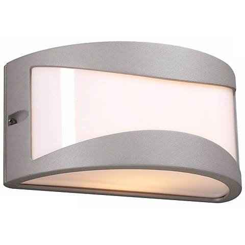 """Baco 10"""" Wide Silver and Acrylic Outdoor Wall Light"""