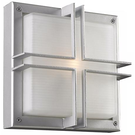 """Piccolo 10"""" Square Silver Outdoor Wall Light"""