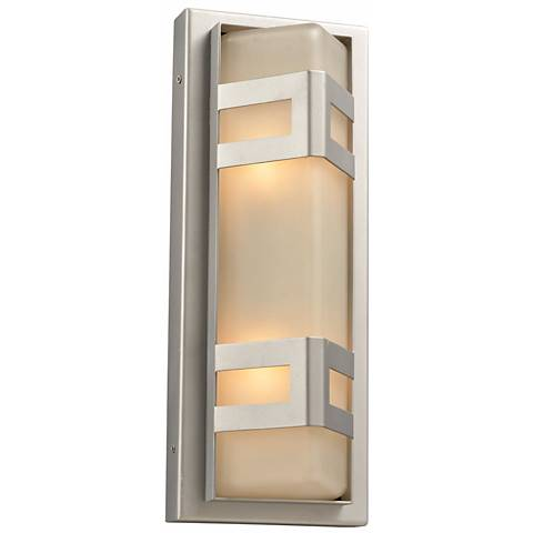 """Sasha 16 1/4"""" High Glass Outdoor Wall Light in Silver"""