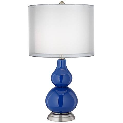 Royal Blue Sheer Double Shade Small Gourd Accent Lamp