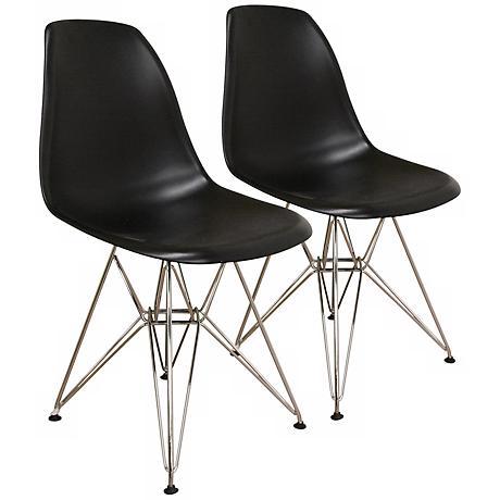 Set of 2 Tularosa Black Plastic Wire Chairs