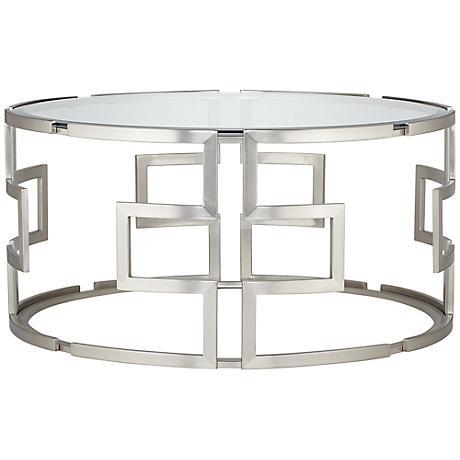 Geometric Silver Glass Coffee Table