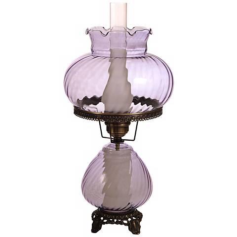Large Violet Swirl Optic Night Light Hurricane Table Lamp