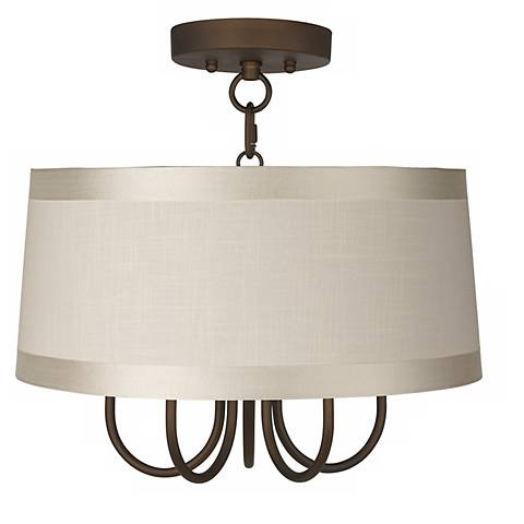 "Wynwood 16"" Wide Ceiling Light with Off-White Drum Shade"