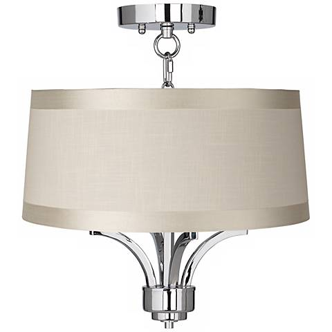 "Fortuna Chrome 16"" Wide Off-White Drum Ceiling Light"