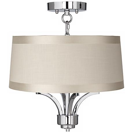 """Fortuna Chrome 16"""" Wide Off-White Drum Ceiling Light"""