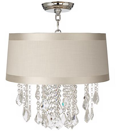 """Nicolli Clear 16"""" Wide Off-White Drum Ceiling Light"""