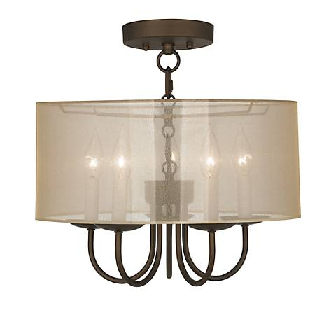 "Wynwood 16"" Wide Ceiling Light with Sheer Gold Shade"