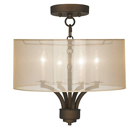 "Fortuna Bronze 16"" Wide Sheer Gold Ceiling Light"